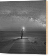 Midnight Explorer At Assateague Island Wood Print