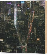 Midtown West Manhattan Skyline Aerial At Night Wood Print