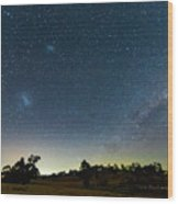 Milky Way And Countryside Wood Print