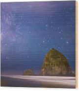 Milky Way Over Canon Beach Wood Print