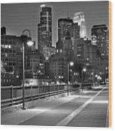 Minneapolis Skyline From Stone Arch Bridge Wood Print by Jon Holiday