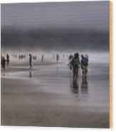 Misty Beach Wood Print