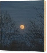 Misty Moonrise Wood Print