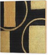 Modern Shapes Gold Wood Print