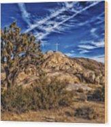 Mojave Memorial Cross And War Memorial Wood Print
