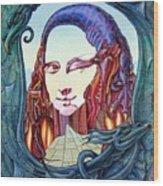 Mona Lisa. Fire Wood Print