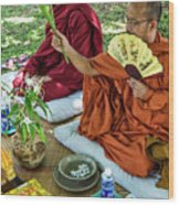 Monks Blessing Buddhist Wedding Ceremony In Cambodia Wood Print