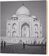 Monochrome Taj Mahal - Square Wood Print