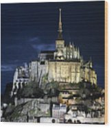 Mont St. Michel At Night Wood Print