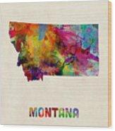 Montana Watercolor Map Wood Print