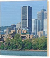 Montreal City Skyline Over River Panorama Wood Print
