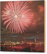 Montreal Fireworks Celebration  Wood Print