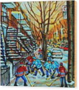 Montreal Hockey Paintings Wood Print