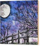 Moon O're Hocking Hills Wood Print