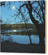 Moon Over Pierce Lake Wood Print