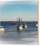 Moored In Chatham Harbor Wood Print