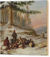 Moose Hunters Wood Print