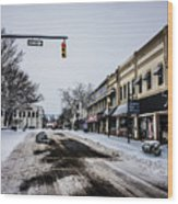 Moresville North Carolina Streets Covered In Snow Wood Print