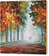 Morning Fog - Palette Knife Oil Painting On Canvas By Leonid Afremov Wood Print