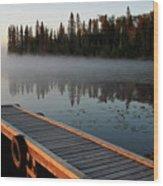 Morning Mist Over Lynx Lake In Northern Saskatchewan Wood Print
