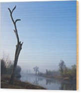 Morning On Red River Wood Print