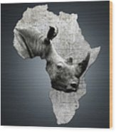 Mother Africa With A Rhino  Wood Print