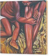 Mother And Child Wood Print by Shahid Muqaddim