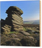Mother Cap Gritstone Rock Formation, Millstone Edge Wood Print