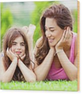 Mother With Daughter Outdoors Wood Print