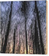 Motion Blurred Trees In A Forest Wood Print