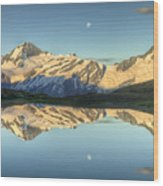 Mount Aspiring Moonrise Over Cascade Wood Print