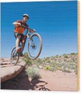Mountain Biking The Porcupine Rim Trail Near Moab Wood Print