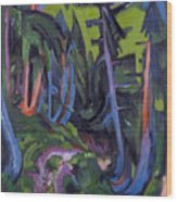 Mountain Forest Path Wood Print