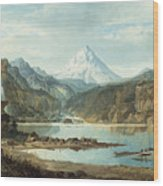 Mountain Landscape With Indians Wood Print