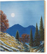 Mountain Moonrise Wood Print