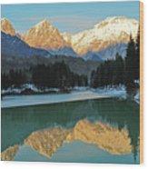 Mountain Reflections On Lago Di Barcis Wood Print