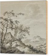 Mountainous Landscape With Three Ramblers Wood Print
