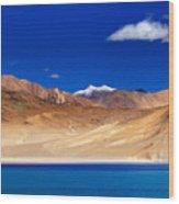 Mountains And Rocks Pangong Tso Lake Leh Ladakh Jammu Kashmir India Wood Print