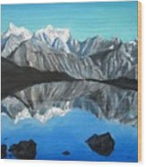 Mountains Landscape Acrylic Painting Wood Print