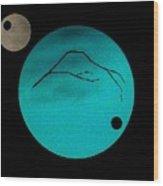Mt Fuji Moon Wood Print