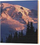 Mt. Rainier Dawn And Clouds Wood Print