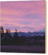 Mt Rainier Frosty Sunrise Wood Print