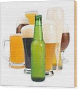 Mug Filled With Beer And Bottles Wood Print by Deyan Georgiev