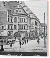 Munich, Germany, Street Scene, 1903, Vintage Photograph Wood Print