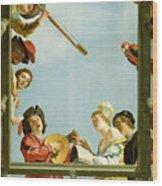 Musical Group On A Balcony Wood Print
