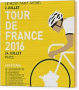 My Tour De France Minimal Poster 2016 Wood Print