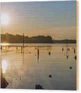 Mystical Sunrise On The Lake Wood Print