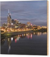 Nashville Tennessee Skyline Sunrise  Wood Print