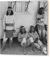 Native American Extras Dressed As Apache Warriors The High Chaparral Set Old Tucson Arizona 1969 Wood Print