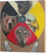 Native American Medicine Wheel Wood Print by Amatzia Baruchi